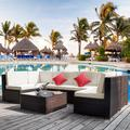 Outdoor Deck Table and Chairs Sets, 7-Piece Wicker Sofa Patio Conversation Furniture Set w/L-Corner Sofa, R-Corner Sofa, 2 Pillows, Glass Table, 2 Middle Sofa, Single Sofa, Padded Cushions, S13075