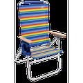 RIO Beach Hi-Boy Aluminum Beach Chair, Multicolor Stripe, Adjustable Lounge Chair