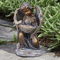 "17.5"" Brown Solar Angel with Birdbath Garden Statue"