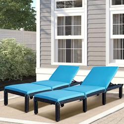 Chaise Lounges for Beach, Set of 2 Patio Furniture Set Outdoor Chaise Lounge Chairs with Adjustable Back, All-Weather Rattan Reclining Lounge Chair with Blue Cushion for Backyard, Garden, Pool, L4549