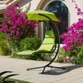 La Vida Steel Hanging Chair with Green Cushion