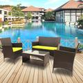 4 Piece Outdoor Furniture Wicker Patio Garden Dining Sets, Patio Furniture Rattan Furniture Sets with Seat Cushions & Tempered Glass Coffee Table, for Porch Poolside Backyard Garden, S1874
