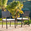 Rhode Island Outdoor Wicker Dining Chair with Cushion - Set of 2