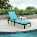 Chaise Lounges Chairs Outdoor, Black Rattan Patio Chaise Lounge Chairs with Adjustable Back, Wheeles, Blue Cushion, All-Weather Sun Chaise Lounge for Backyard, Pool, Balcony, Patio Furniture, W11637