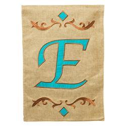 Evergreen Enterprises Teal Monogram Garden Flag