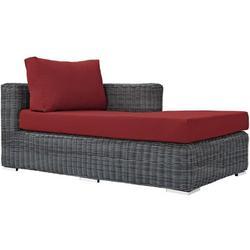Modern Contemporary Urban Design Outdoor Patio Balcony Garden Furniture Lounge Chaise Chair, Sunbrella Rattan Wicker, Red
