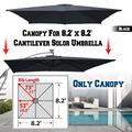 Strong Camel Replacement Umbrella Canopy for 8.2ft x 8.2 ft 8 ribs in Black (Canopy Only)