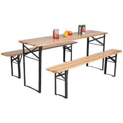 Costway 3 PCS Beer Table Bench Set Folding Wooden Top Picnic Table Patio Garden