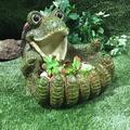 Homestyles Turtle Big Hands Multi Function Planter, Bird Feeder, Bird Bath and Stone Garden Statue