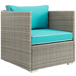 Modern Contemporary Urban Design Outdoor Patio Balcony Garden Furniture Lounge Chair Armchair, Sunbrella Rattan Wicker, Blue Light Gray