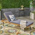 Marc Outdoor Acacia and Eucalyptus Wood Chaise Lounge with Cushion, Teak, Dark Gray, Rustic Metal