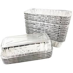 """Pactogo 11"""" x 5"""" All-Purpose Aluminum Foil BBQ Grease Drip Catching Pan - Compatible with Weber Grills (Pack of 30)"""