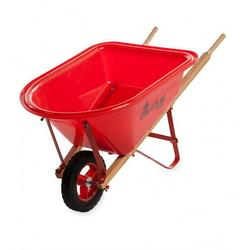 HearthSong - Kid's Red Garden Wheelbarrow with Wood Handles, Steel Braces and Solid Tire
