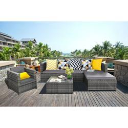 Baner Garden SJ-14067 Complete 4 Piece PE Wicker Rattan Pool Patio Garden Chaise Lounge Set with Cushions, Grey