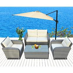 Strong Camel 4pcs Patio Furniture Sets Chairs Rattan Wicker Sofa Lounge Chaise & Coffee Table Outdoor Garden (off white and grey )