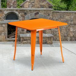 "Flash Furniture Commercial Grade 31.5"" Square Orange Metal Indoor-Outdoor Table [ET-CT002-1-OR-GG]"