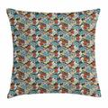 Poppy Throw Pillow Cushion Cover, Cartoon Hand Drawn Colorful Flourishing Garden Design Buds Petals Leaves and Curls, Decorative Square Accent Pillow Case, 16 X 16 Inches, Multicolor, by Ambesonne