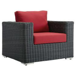 Modern Contemporary Urban Design Outdoor Patio Balcony Garden Furniture Lounge Chair Armchair, Sunbrella Rattan Wicker, Red