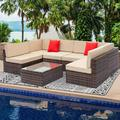 Wicker Outdoor Sectional Sofa Set, 7 Piece Patio Furniture Dining Sets with Coffee Table&Patio Sofa, All-Weather Brown Rattan Wicker Sofa Set, Outdoor Conversation Sets for Backyard, Poolside, W2220
