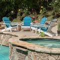 Ariel Outdoor Acacia Wood Folding Adirondack Chairs with Cushions (Set of 4), White and Dark Teal