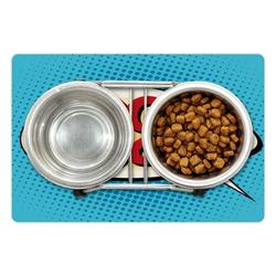 """Going Away Party Pet Mat for Food and Water, Comic Book Pop Art Style Retro Speech Balloon Luck Text, Non-Slip Rubber Mat for Dogs and Cats, 18"""" X 12"""", by Ambesonne"""