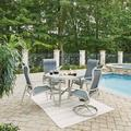 South Beach 5 Pc. Round Outdoor Dining Table with 2 Swivel Rocking Chairs & 2 Arm Chairs