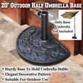 20'' Half Round Resin Umbrella Base Stand Holder Patio for Half Umbrella Outdoor
