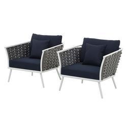 Modern Contemporary Urban Design Outdoor Patio Balcony Garden Furniture Lounge Chair Armchair, Set of Two, Fabric Aluminium, White Navy