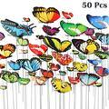 EEEkit 100/50pcs Handmade Butterfly Stakes for Indoor & Outdoor Decoration Waterproof Butterflies for Garden, Yard & Patio Décor Garden Butterfly Ornaments for Planter, Flower Pot, Christmas