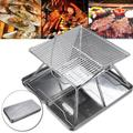 Mini Barbecue Grill Portable Folding Charcoal Barbecue DeskTabletop Outdoor Stainless Steel Smoker BBQ Garden Terrace Camping Travel (12x12x9inch) Hiking Picnics (Silver)