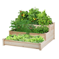 Easyfashion 3 Tier Wooden Raised Garden Bed Planter Box, Natural Wood