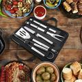 YLSHRF Barbecue Utensils Set,5Pcs/Set Stainless Steel BBQ Tools Barbecue Kit Knife Fork Shovel Brush Clip With Oxford Bag, BBQ Tool Kit