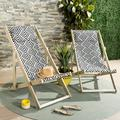 Safavieh Rive Outdoor Patio Foldable Sling Chair - White Wash/Navy