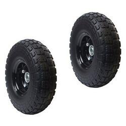 "ALEKO 2WNF10 Flat Free Replacement Wheels for Wheelbarrow, 10"" No Flat Tire, Black Pack of 2"