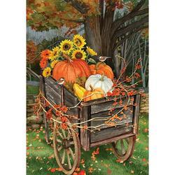 Custom Decor House Flag - Pumpkin Wheelbarrow