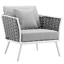 Modern Contemporary Urban Design Outdoor Patio Balcony Garden Furniture Lounge Chair Armchair, Aluminum Metal Steel, White