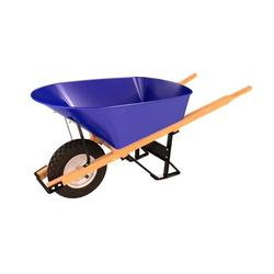 Bon 28-700 Single Flatfree Tire Steel Tray Wheel Barrow With Wood Handle, 6 Cubic Foot