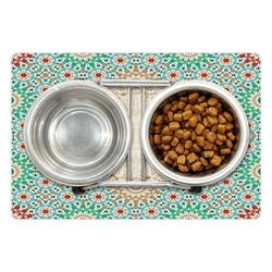"""Moroccan Pet Mat for Food and Water, Ottoman Mosaic Art Pattern Oriental Floral Forms Antique Scroll Ceramic Boho, Non-Slip Rubber Mat for Dogs and Cats, 18"""" X 12"""", by Ambesonne"""