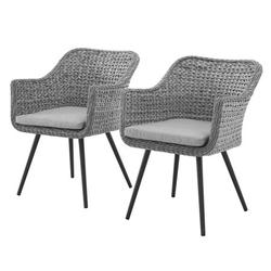 Modern Contemporary Urban Design Outdoor Patio Balcony Garden Furniture Lounge Chair Armchair, Set of Two, Rattan Wicker, Grey Gray