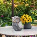 Alpine Solar Outdoor Garden Owl Statue, 10 Inch Tall