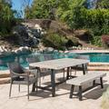 Jimmy Outdoor 6 Piece Wicker Dining Set with Acacia Wood Table and Bench, Sandblast Light Grey, Black Rustic Metal, Grey