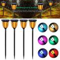4-Pack Solar Lights Solar Torches Lights Waterproof Dancing Flame Outdoor Lighting Landscape Decoration Lighting 12 PCS RGB LED Solar Powered Path Lights Dusk to Dawn Auto On/Off for Garden Patio Yard