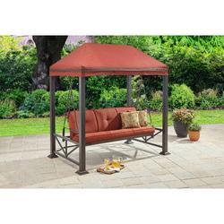 Better Homes & Gardens Sullivan Pointe Gazebo Porch Swing Bed, Seats 3, Red