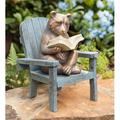 """Plow & Hearth Reading Bear All-weather Resin Outdoor Garden Statue, 6""""L x 5.75""""W x 8.75""""H"""