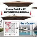 Strong Camel Replacement Umbrella Canopy for 8.2ft x 8.2 ft 8 ribs in Brown (Canopy Only)