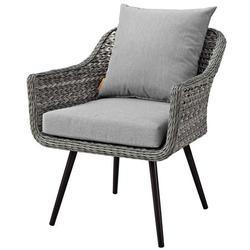 Modern Contemporary Urban Design Outdoor Patio Balcony Garden Furniture Lounge Chair Armchair, Rattan Wicker Aluminum Metal, Grey Gray