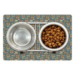 """Geek Pet Mat for Food and Water, Repeating Pattern with Stack of Books Combined with Hearts Coffee and Nerd Glasses, Non-Slip Rubber Mat for Dogs and Cats, 18"""" X 12"""", by Ambesonne"""
