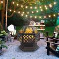 """Wood Burning Fire Pit, 24"""" Hex Shaped Iron Fire Pit Backyard Patio Garden Stove Wood Burning Fire Pit, Durable Fire Pits for Outside with Screen Cover, Handle, Cutouts, Poker, 24.6x24.6x22.64, Q5944"""