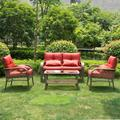4 PCs All Weather Outdoor Chairs with Cushions PE Rattan Patio Furniture Set, for Backyard, Pool, Deck