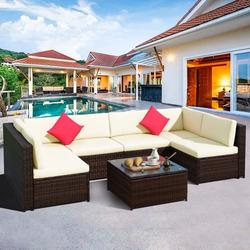 7-Piece Patio Furniture Sets on Sale, SEGMART 7-Piece Wicker Patio Conversation Furniture Set w/ Seat Cushions & Tempered Glass Coffee, Wicker Sofa Sets for Porch Poolside Backyard Garden, S13078